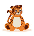 cute cartoon striped red tiger vector image