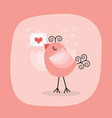 cute little bird holding heart letter emblem vector image vector image