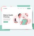 elderly health checkup with doctor vector image vector image