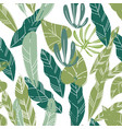 exotic foliage and leaves plants and flowers vector image vector image