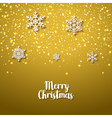 Festive golden background with snowflakes Xmas vector image vector image