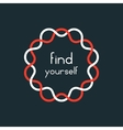 find yourself in red and white sign vector image vector image