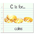 Flashcard letter c is for coins vector image vector image
