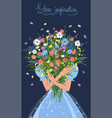 girl with a bouquet flowers in her hands vector image vector image