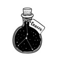 glass bottle with zodiac cancer constellation vector image