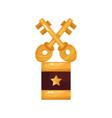 gold crossed keys award golden statuette cartoon vector image