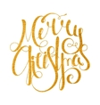 Gold handwritten inscription Merry Christmas vector image