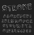 grunge stroke font template letters and numbers vector image