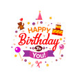 happy birthday kids typography card vector image vector image