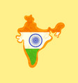india - map colored with indian flag vector image