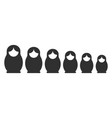 matryoshka silhouette set vector image vector image