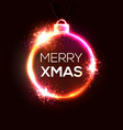 merry xmas neon sign bright signboard light banner vector image