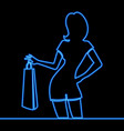 one line drawing woman shopping neon concept vector image vector image