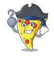 pirate pizza slice character cartoon vector image