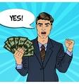 Pop Art Businessman with Money vector image