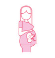 pregnant woman with her fetus vector image vector image