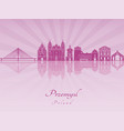 przemysl skyline in purple radiant orchid vector image vector image