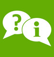 question and exclamation speech bubbles icon green vector image vector image