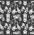 seamless pattern with motorbike surfboard skate vector image vector image