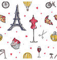 seamless pattern with paris and france elements vector image vector image