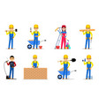 set builders and workers vector image
