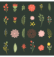 set flowers on black background vector image vector image