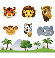 Set of Cartoon Animal Heads vector image vector image