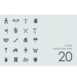 Set of knight and war icons vector image vector image