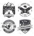 set of skateboard and longboard club badges vector image