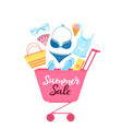 shopping trolley with beach items and accessories vector image vector image