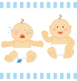 Smiling baby and unhappy isolated on white vector image vector image