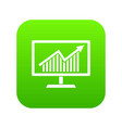 statistics on monitor icon digital green vector image vector image