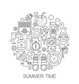 summer time in circle - concept line vector image vector image