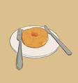sweet donut sketch on white plate vector image vector image