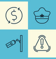 travel icons set collection of siren pilot hat vector image vector image