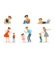 upset teenagers and parents scold children vector image vector image