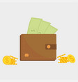 wallet full of money vector image vector image