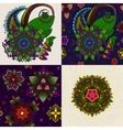 set of Hand drawn Mandala and seamless vector image