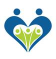 heart shape family logo design vector image