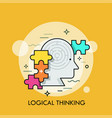 human head with maze inside and colorful jigsaw vector image