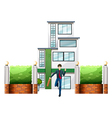 A businessman running outside the tall building vector image vector image