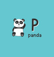 alphabet letter p and panda vector image vector image