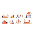 autumn gathering farmer people flat harvesting vector image vector image