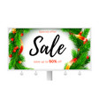 billboard with ads of winter sale up to fifty vector image vector image