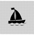 black silhouette of sailing ship icon on vector image vector image