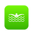 butterfly swimmer icon digital green vector image
