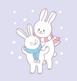 cartoon cute rabbit mom and baby vector image