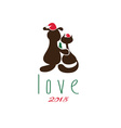 cat and dog in merry christmas hat and pine vector image vector image