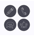 Chat speech bubbles bell and pencil icons vector image