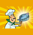 chef cook character with roasted fish vector image vector image